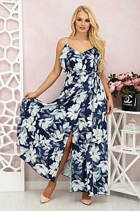 Платье в пол Милена Цветы синий