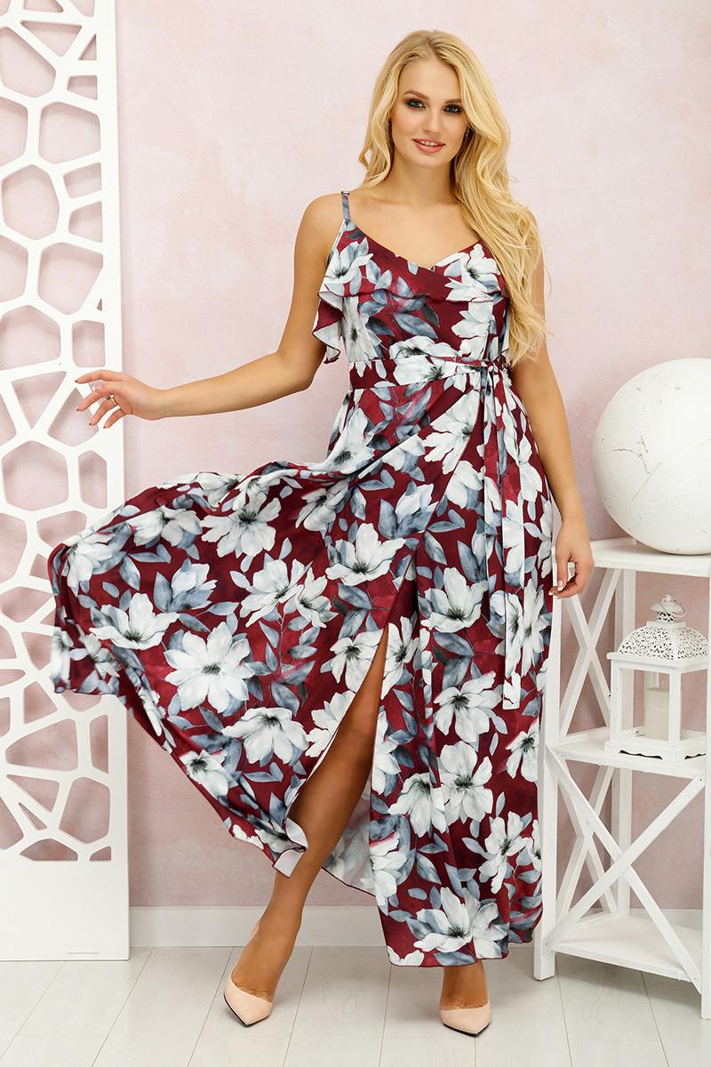 Платье в пол Милена Цветы марсала