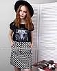 Трендовая юбка в шашечку с молнией кольцом, фото 6
