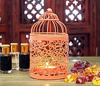 Подсвечник металлический в восточном стиле стиле персиковый
