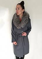 Женское демисезонное пальто с меховым, съемным воротником (в больших размерах) / women's coat 5, фото 1