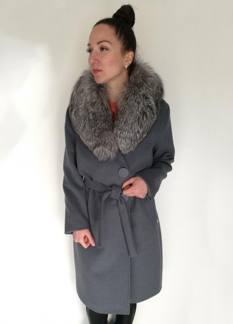 Женское демисезонное пальто с меховым, съемным воротником (в больших размерах) / women's coat 5