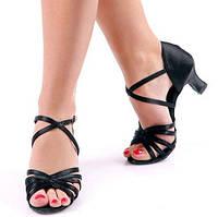 Босоножки тренировочные для бальных танцев Pasfailli 10091 5 см каблук черные, сатин