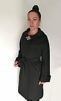 Женское демисезонное пальто с поясом, черного цвета / women's coat 45, фото 1