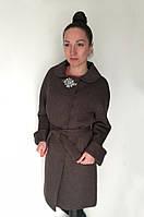 Женское демисезонное пальто с поясом и декоративной брошью / women's coat 14 GL, фото 1