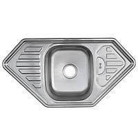 Мойка кухонная 9550 см угловая трапеция Platinum поверхность декор 0,8 мм