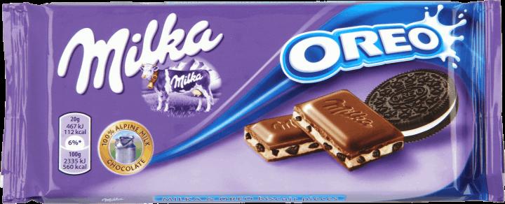 Молочный шоколад с печеньем орео Milka Oreo, 100гр