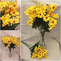 Цветы подсолнуха в букете, 8 веточек, высота 53 см.