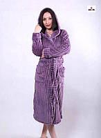 Махровый женский длинный халат на запах с капюшоном р.42-56