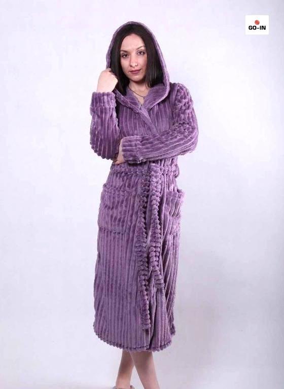 Махровый женский длинный халат на запах