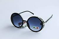 Солнцезащитные очки круглой формы синего цвета, фото 1
