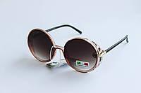 Солнцезащитные очки круглой формы коричневого цвета, фото 1