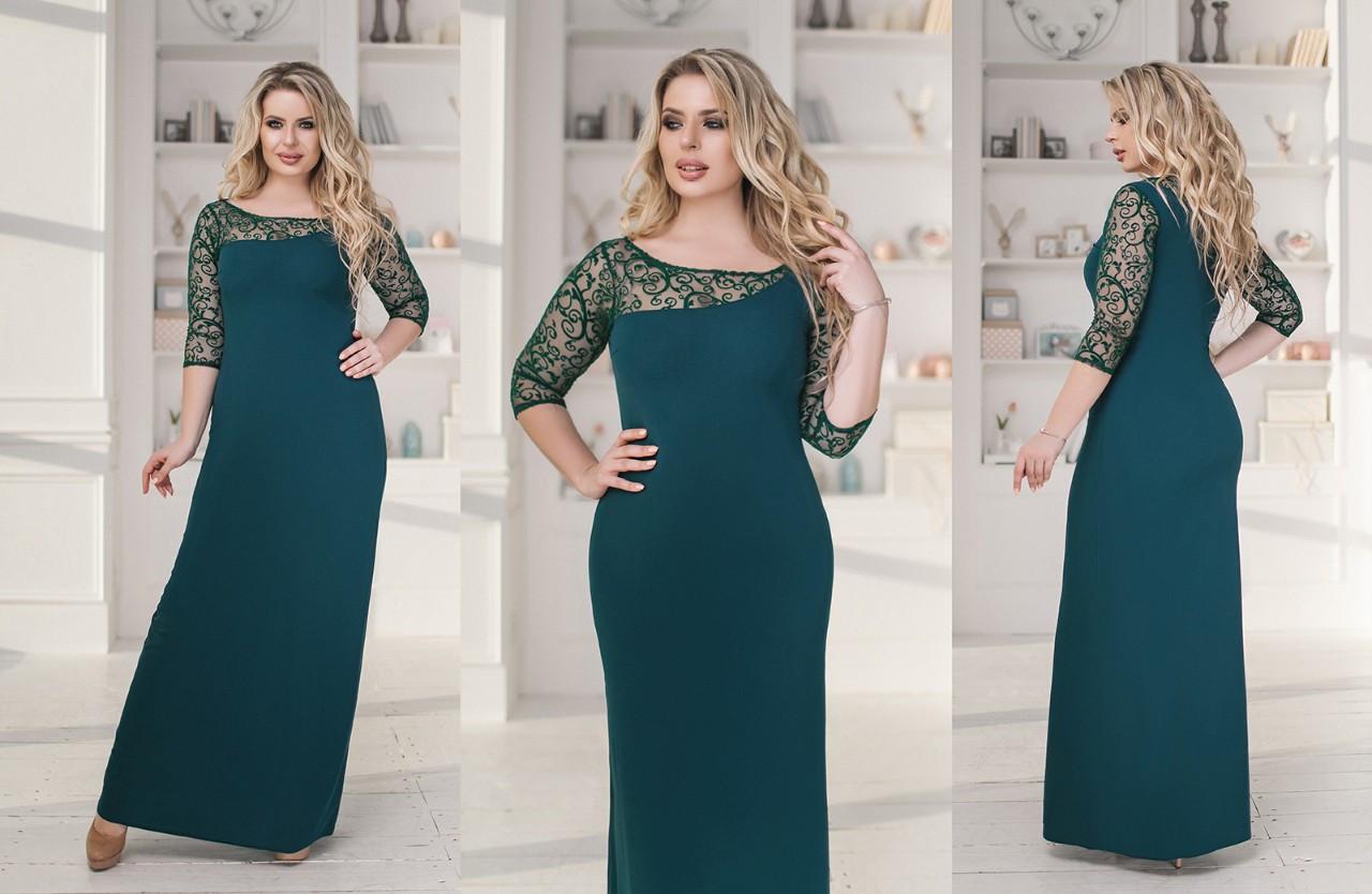 Платье в пол БАТАЛ  в расцветках 704019