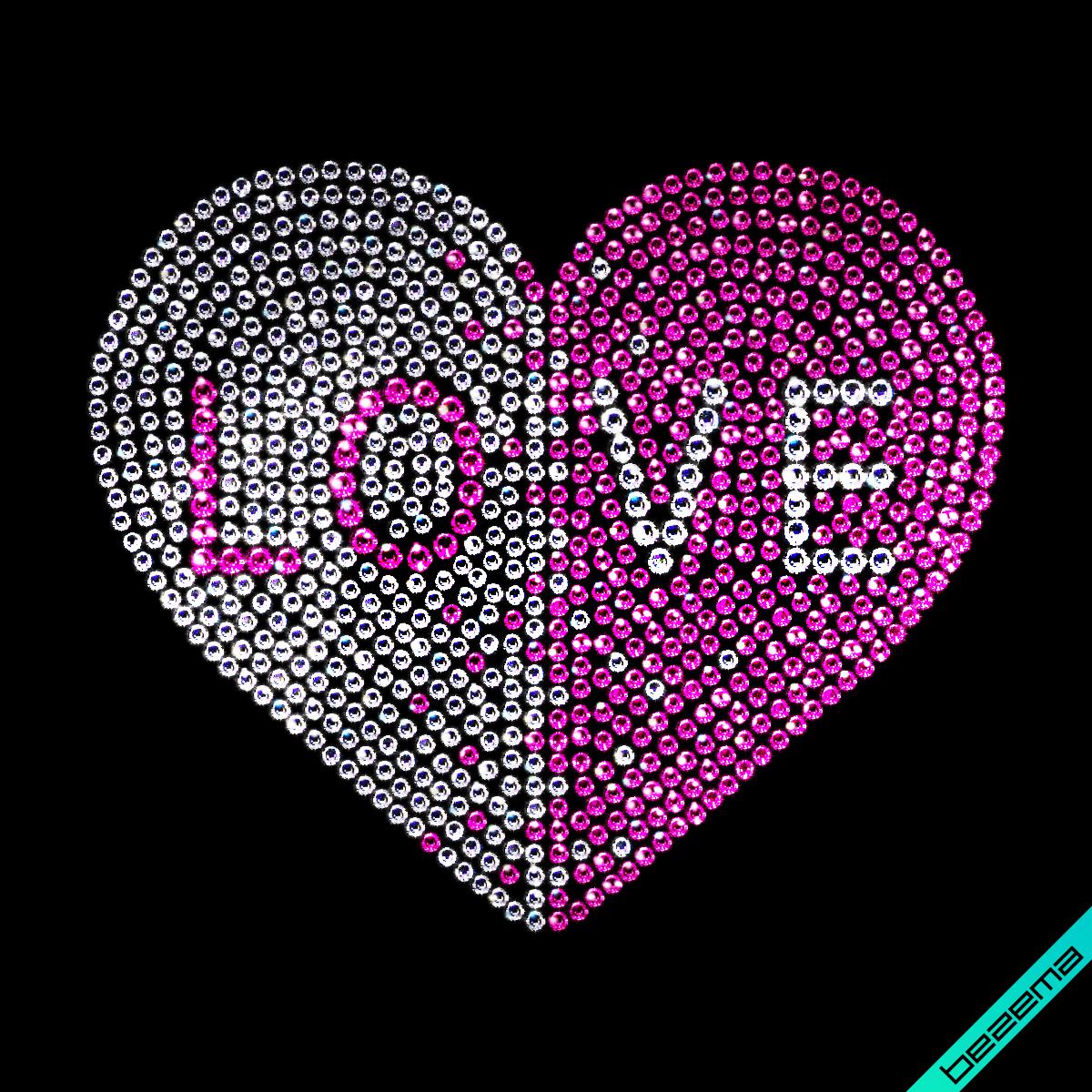 Рисунки на одежду Надпись сердце Love ( 2мм-бел.,2мм-роз.,3мм-бел.,4мм-роз.)