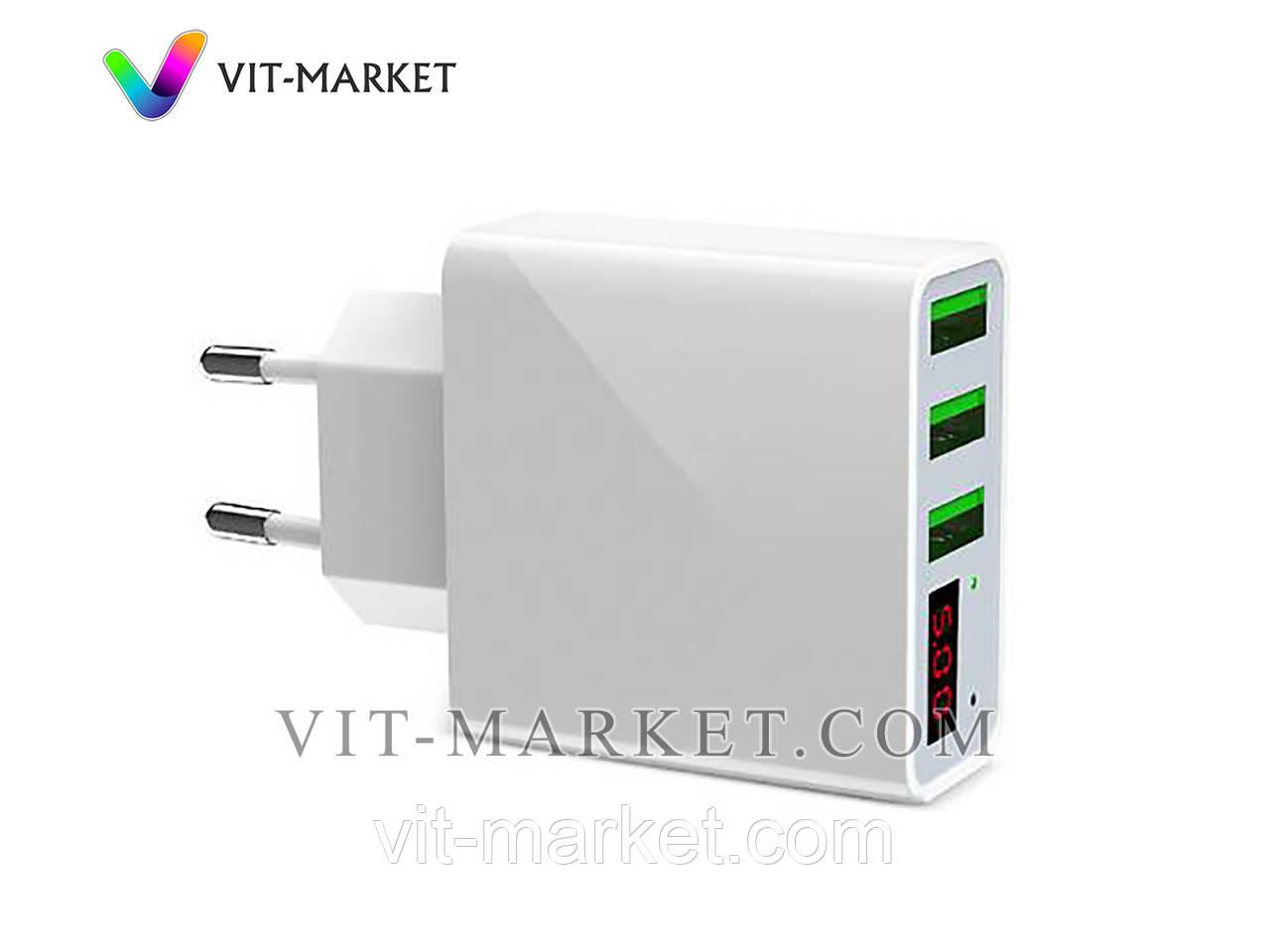 Оригинал. Универсальное зарядное устройство USAMS на 3 USB со светодиодным дисплеем код HKL-USB32W