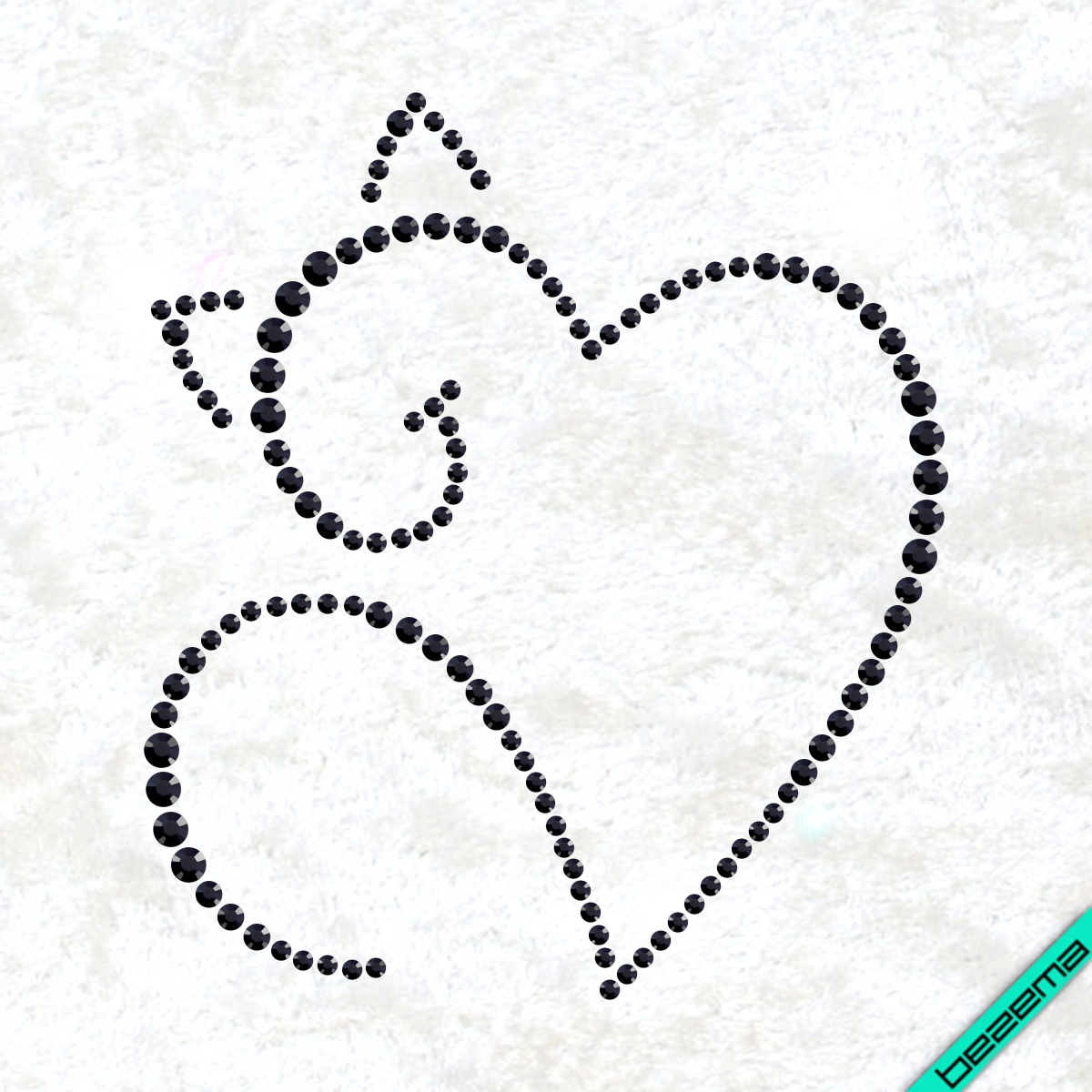 Рисунки на одежду Сердце кот ( 2мм-черн.,3мм-черн.,4мм-черн.)