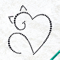 Рисунки на одежду Сердце кот ( 2мм-черн.,3мм-черн.,4мм-черн.), фото 1