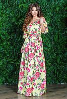 """Летнее женское платье крестьянка в цветочном стиле с двойным рукавом фонарик """"Нежная роза"""""""