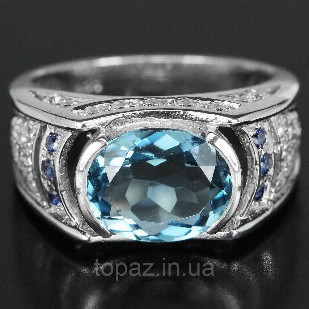 Кольцо серебряное 925 натуральный лондон топаз, цирконий.