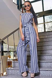 Женский полосатый комбинезон с широкими брюками (3369 svt)