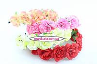 Обруч-венок с розами, цвета в ассортименте. Код 0523