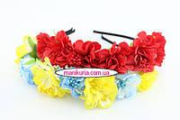 Обруч-венок с розами, цвета в ассортименте. Код 0512