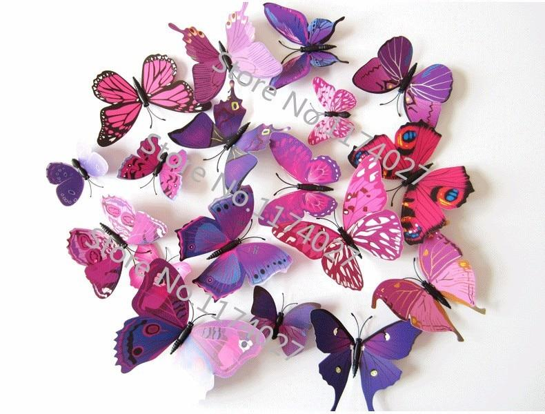 Набор №49 из 12шт декоративных 3-D бабочек фиолетовые - фото 2