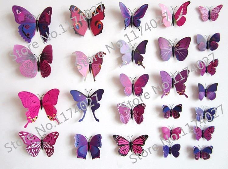 Набор №49 из 12шт декоративных 3-D бабочек фиолетовые - фото 3