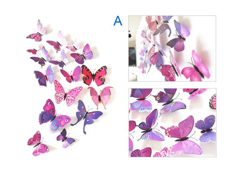 Набор №49 из 12шт декоративных 3-D бабочек фиолетовые - фото 4