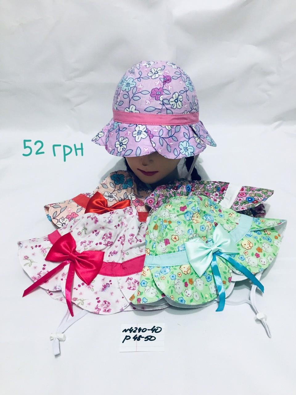 Детская панамка для девочки Цветочки,р.48-50,коттон