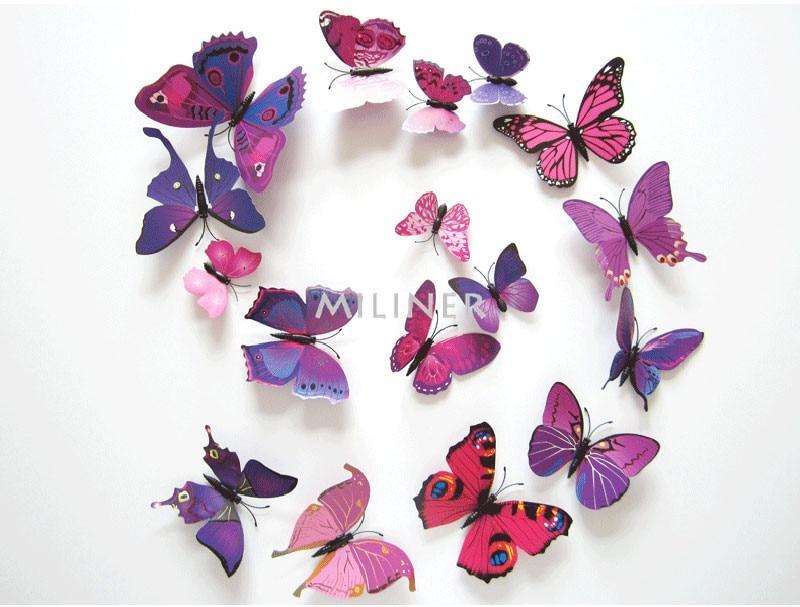 Набор №49 из 12шт декоративных 3-D бабочек фиолетовые - фото 6