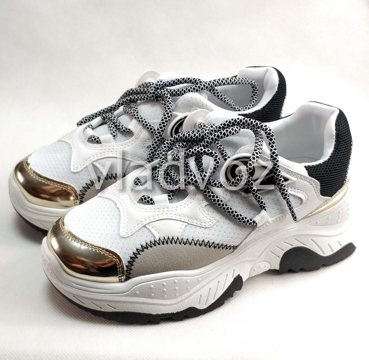 Подростковые модные кроссовки для девочки на девочек белые 38р.