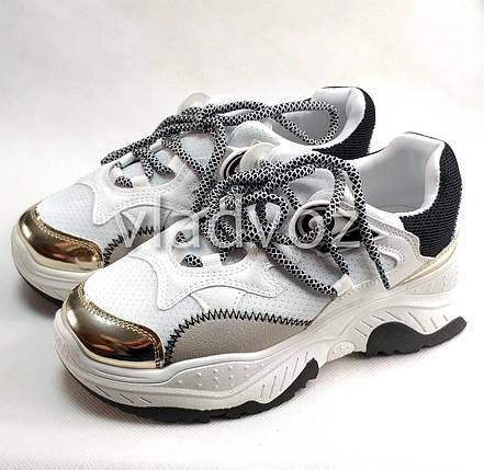 Подростковые модные кроссовки для девочки на девочек белые 38р., фото 2
