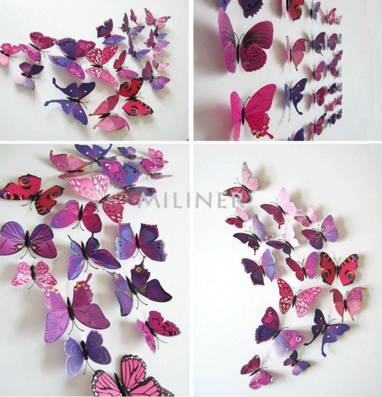 Набор №49 из 12шт декоративных 3-D бабочек фиолетовые - фото 1