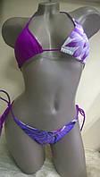 Купальник  шторка  фиолетовый с цветочным принтом р-ры 38 40