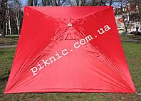 Зонт торговый 2х2м (Серебро+Клапан). Мощный зонт для уличной торговли, садовый Красный!
