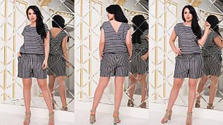 Легкий жіночий літній комбінезон шортами з запахом на спині, батал великі розміри