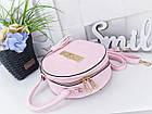 Женские розовый круглый клатч, эко кожа, фото 2