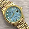 Часы 116183 женские 37 мм золотистые с бирюзовым календарь линза