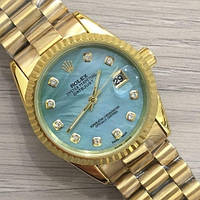 Часы 116183 женские 37 мм золотистые с бирюзовым календарь линза, фото 1