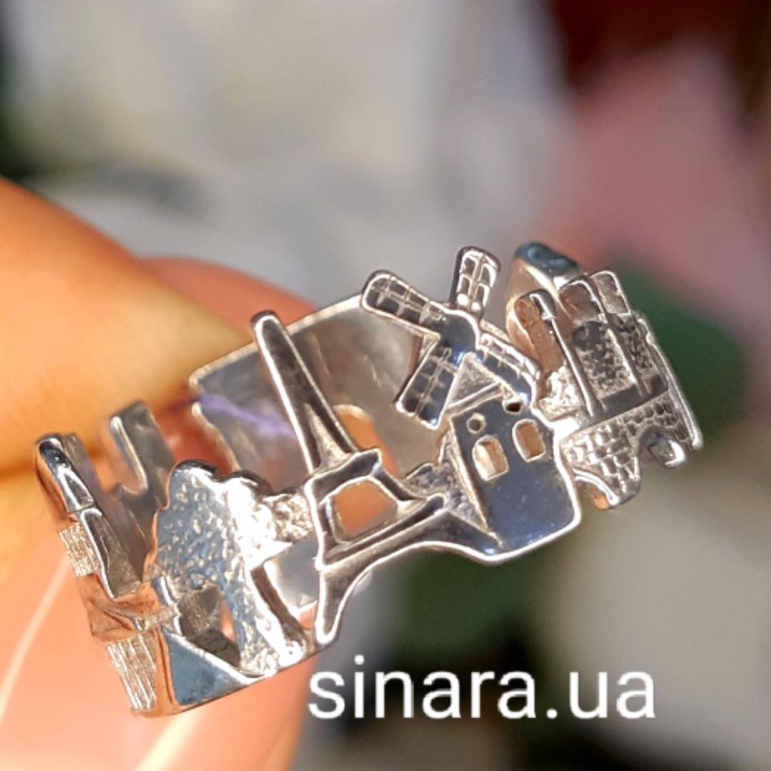 Серебряное кольцо Париж - Кольцо достопримечательности Парижа серебро 925 - Кольцо Франция