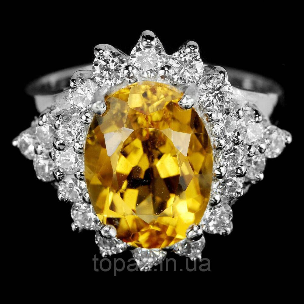 Кольцо серебряное 925 натуральный ААА  цитрин, цирконий.