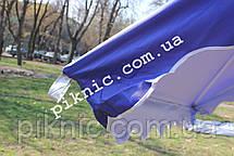Зонт торговый 2,5х2,5м (Серебро+Клапан). Мощный зонт для уличной торговли, садовый Синий!, фото 3
