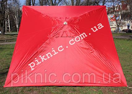 Зонт торговый 2.5х2.5м (Серебро+Клапан). Мощный зонт для уличной торговли, садовый Красный!, фото 2