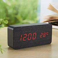 Цифровые светодиодные деревянные часы Wooden clock прямоугольные