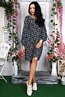 Молодежное платье с оригинальным цветочным принтом, фото 1