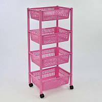 """Гр Этажерка для игрушек 4 яруса (5) - цвет розовый """"K-PLAST"""""""