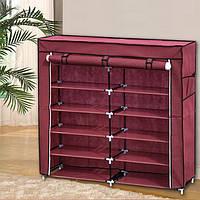 Тканевый шкаф HCX для вещей и обуви «T2712 bordo» 118х30х110 см Бордовый, фото 1