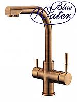 Комбинированный кухонный смеситель Blue Water Польша Alabama old gold подключение фильтрованной воды, фото 1
