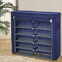 Тканевый обувный шкаф органайзер «T2712 blue» на 12 полок, фото 1
